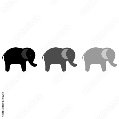 elephants silhouette on a white background Canvas Print