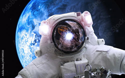 Keuken foto achterwand Heelal Asrtonaut in deep space near earthlike planet . Elements of this image furnished by NASA