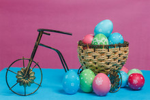 Easter Eggs In Nest On Bicycle