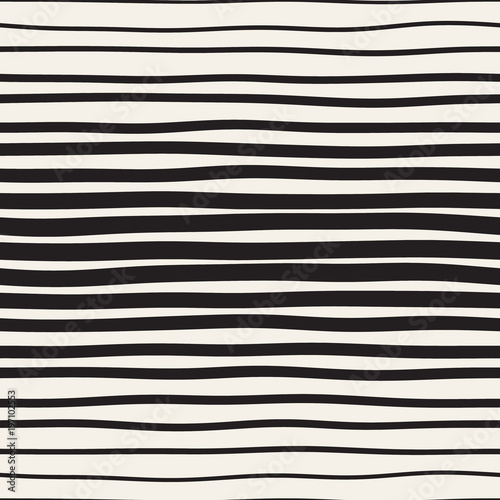 Cotton fabric Vector seamless black and white hand drawn diagonal wavy lines pattern. Abstract freehand background design
