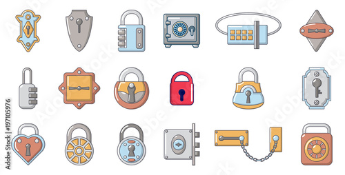 Fotografie, Obraz  Lock icon set, cartoon style