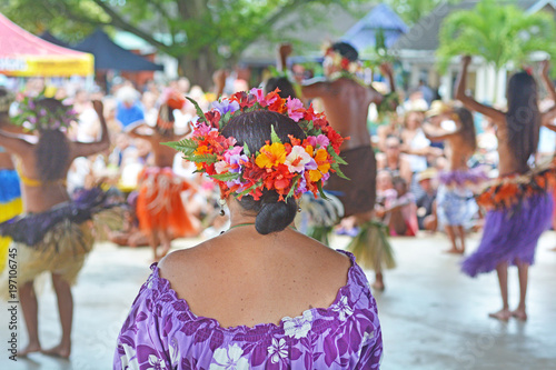 Vászonkép Culture show at Punanga Nui Market Rarotonga Cook Islands