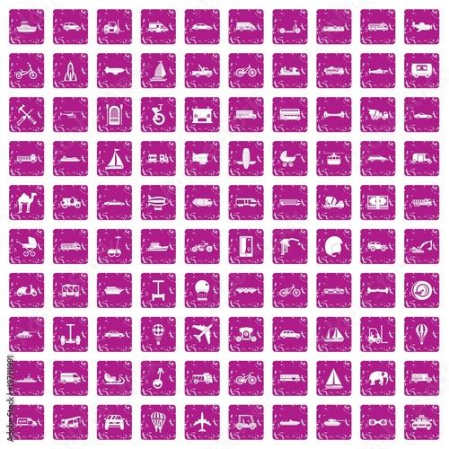 Valokuva  100 transport icons set grunge pink