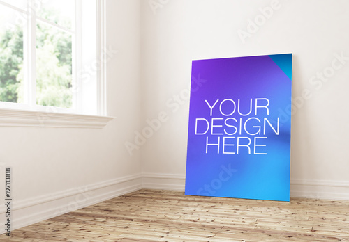 Poster Mockup Leaning On Home Interior Wall Buy This Stock Template