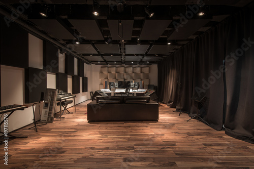 Photo  Empty control room with music equipment