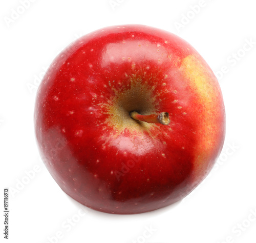 Fototapeta Ripe red apple on white background, top view obraz