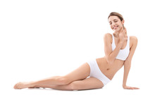Young Woman With Beautiful Silky Body On White Background