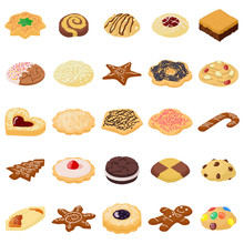 Cookies Biscuit Icons Set, Isometric Style