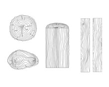 Vector Tree Rings And Timber Boards