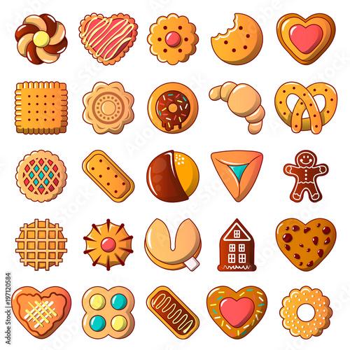 Foto Cookies biscuit icons set, cartoon style