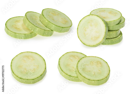 zucchini slices isolated on white background