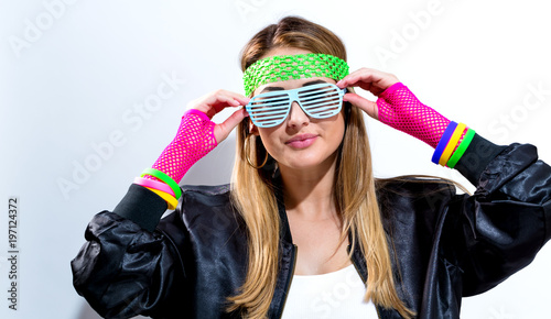 Photo  Woman in 1980's fashion on a white background