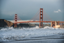 Storm On Ocean Bay In San Francisco City Beach With Golden Gate Bridge View