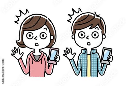 Fotografie, Obraz  男の子と女の子:スマホ、スマートフォン