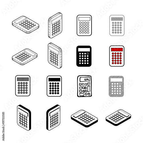 Set of Collection modern vector  calculator icon multi type of 3d