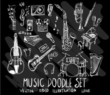 Set Of Vector Doodle Drawing Collection Music On Black Background Eps10