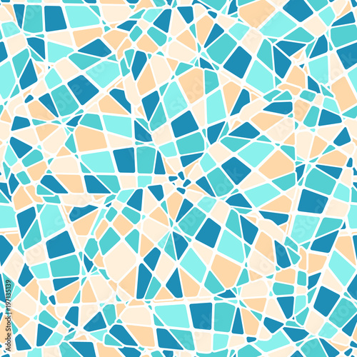 Fotografie, Obraz  Colorful mosaic style vector seamless pattern