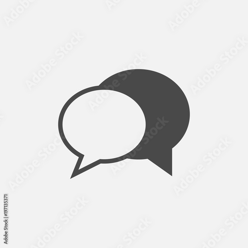 Photo  text message or speech bubble vector icon for communication and social media