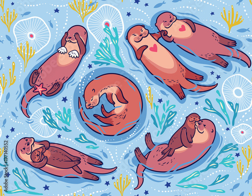 Vector seamless pattern with cute otters in the sea. Decorative surface background