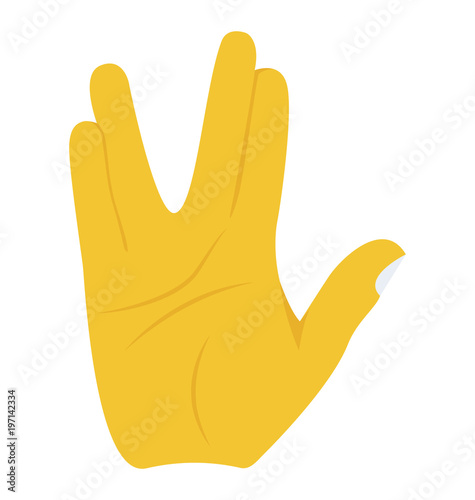 Hand doing the vulcan salute concept of live long gesture concept Wallpaper Mural