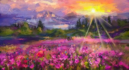 Panel Szklany Podświetlane Krajobraz Abstract colorful oil painting purple cosmos flower, rhododendron flowers, wildflower in field. Violet, red wildflowers at meadow with sunrise and blue sky. Spring, summer season nature background