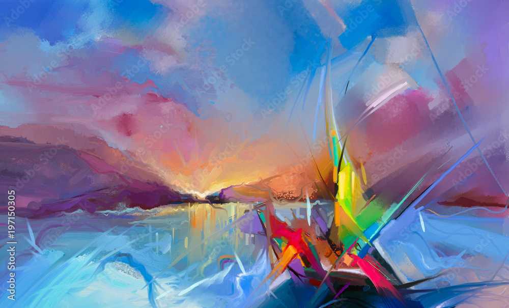 Fototapeta Colorful oil painting on canvas texture. Semi- abstract image of seascape paintings with sunlight background.