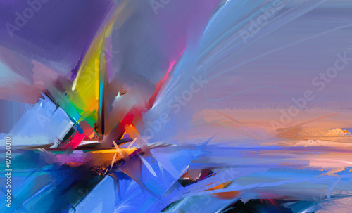 Fotografia  Colorful oil painting on canvas texture