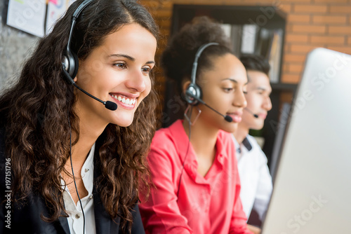 Photo  International call center team working in the office