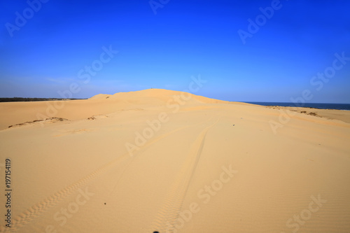 Staande foto Donkerblauw The desert by the sea