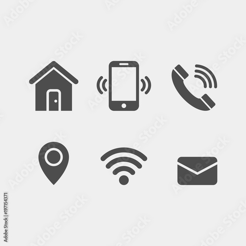 Contacts Flat Vector Icons Set Mobile Phone Telephone Wifi Gps Home Email Flat Vector Icons Buy This Stock Vector And Explore Similar Vectors At Adobe Stock Adobe Stock