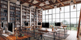 3d render of beautiful industrial style interior office
