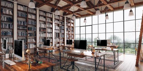 Fotografia  3d render of beautiful industrial style interior office