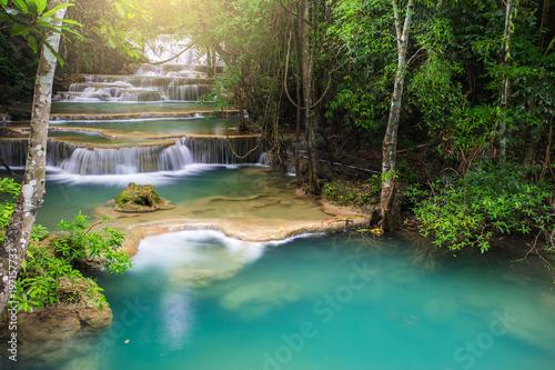 Fototapety, obrazy: Huay Mae Kamin Waterfall, beautiful waterfall in rainforest at Kanchanaburi province, Thailand