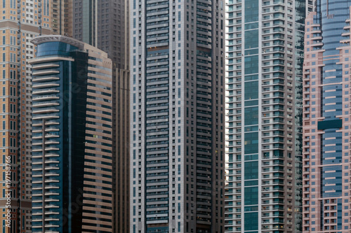 Photo  Detail view of modern skyscrapers in Dubai, UAE - background pattern