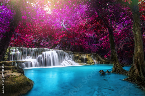 Wall Murals Waterfalls Huay Mae Kamin Waterfall, beautiful waterfall in rainforest at Kanchanaburi province, Thailand