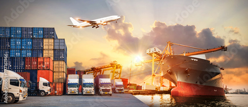 Fototapeta Logistics and transportation of Container Cargo ship and Cargo plane with workin