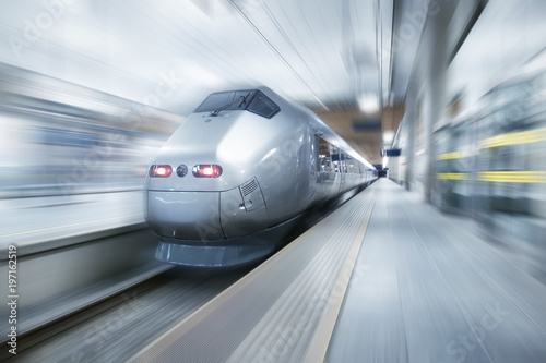 Fast train on the station. Concept and idea of trasportation