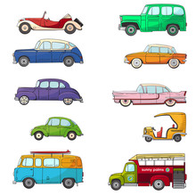 Collection With Retro Car In C...