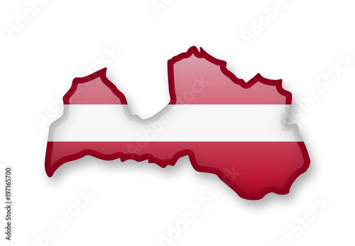 Canvas Print Latvia flag and contour of the country.
