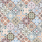 Orange, green and blue abstract patterns in the mosaic set. Square scraps in oriental style. Vector illustration. Ideal for printing on fabric or paper. - 197167153