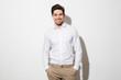 Leinwandbild Motiv Portrait of a smiling young man dressed in shirt