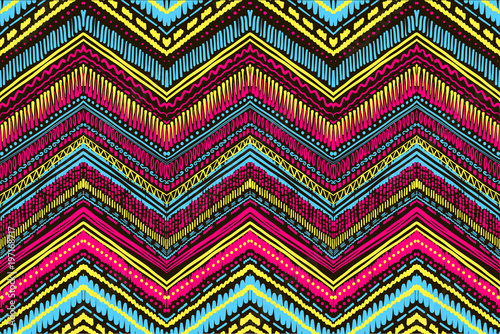 Foto auf Gartenposter Boho-Stil Abstract Ikat and boho style handcraft fabric pattern. Traditional Ethnic design for clothing and textile background, carpet or wallpaper