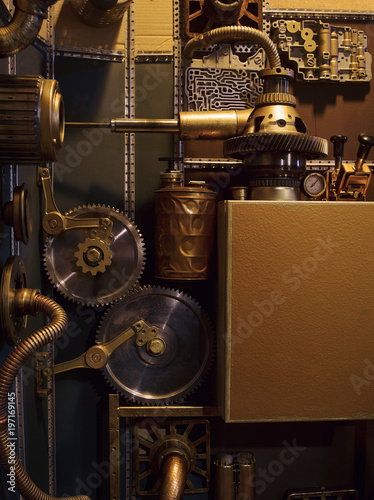 An ancient vintage wall with mechanisms in the steampunk style. #197169145