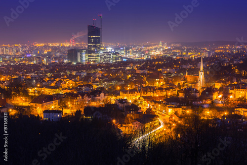 Garden Poster Vienna Cityscape of Gdansk Oliwa at night from the hill, Poland