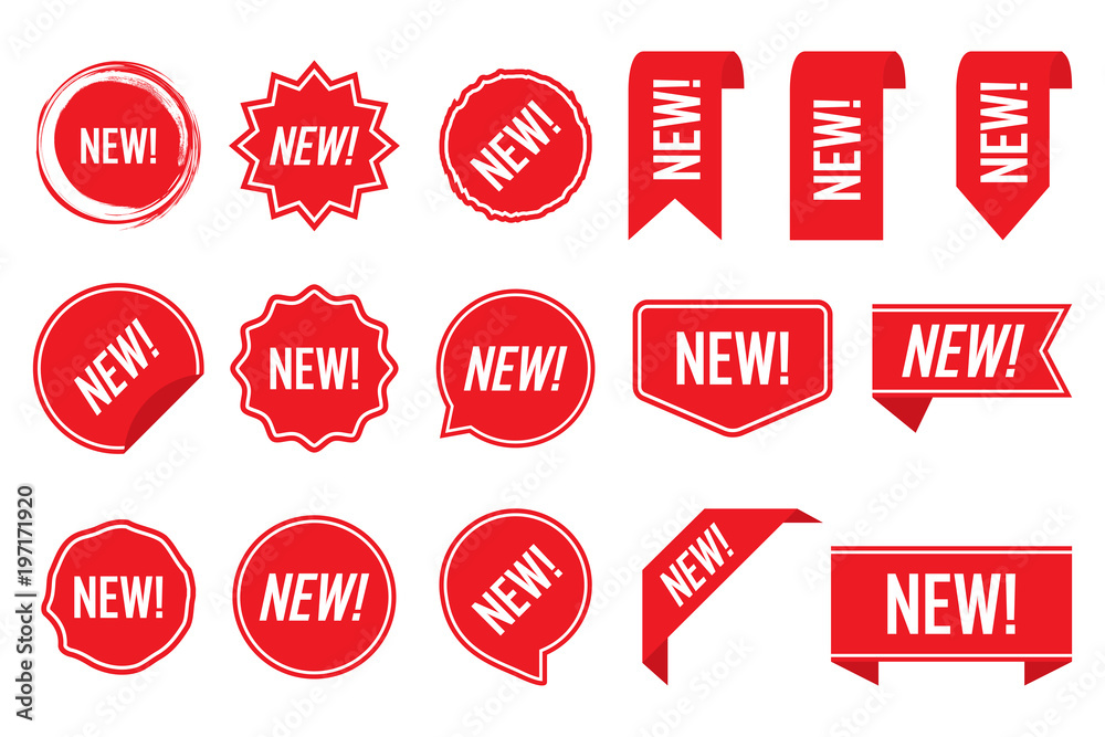 Fototapety, obrazy: New labels, red isolated on white background, vector illustration