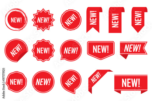 Fotografía  New labels, red isolated on white background, vector illustration