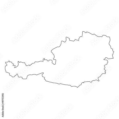 Austria linear map on a white background. Vector illustration Wall mural