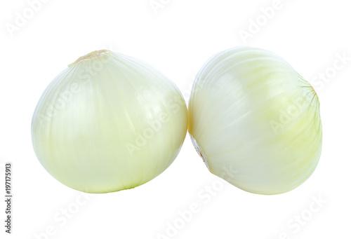 Fotografia fresh bulbs of onion on a white background