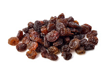 Dried Raisins On White Backgro...