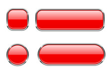 Red Glass Buttons With Chrome ...
